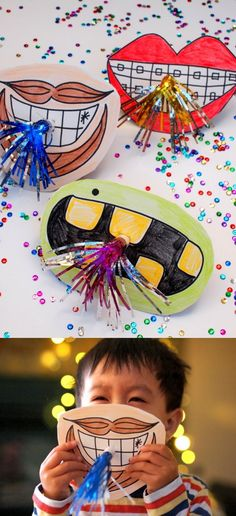 Create unique horn photo booth props with giant mouths! They're so cute and easy to make for New Year's Eve or New Year's Day. The kids will want to help out too!