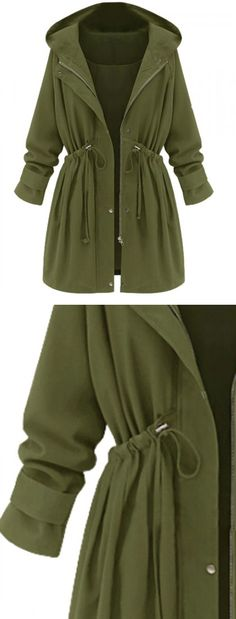 Green High Waist Hooded Long Sleeve Coat