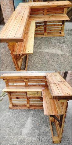 Interesting Ideas of Old Wood Pallet Recycling There are so many people around u. - Interesting Ideas of Old Wood Pallet Recycling There are so many people around us who do want to br - Wood Pallet Bar, Wooden Pallet Projects, Pallet Crafts, Diy Pallet Furniture, Wooden Pallets, Diy Crafts, Wood Crafts, Woodworking Furniture, Furniture Ideas