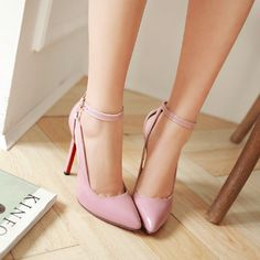 Summer Pumps 2016 Pointed Toe Less Platform Women Shoes Sexy Cut-outs Ankle Strap Rome Thin High Heels alishoppbrasil