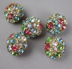 1950s rhinestone buttons~I love these on a button up sweater!: