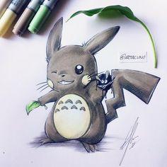 Totoro x Pikachu = Pikachu, Manga Anime, Anime Art, Totoro Drawing, Mononoke Anime, Ghibli Tattoo, Gaming Tattoo, Studio Ghibli Movies, My Neighbor Totoro