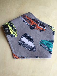 A personal favorite from my Etsy shop https://www.etsy.com/listing/222628924/bandana-bib-in-retro-cars-soft-flannel