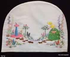 Vintage Crinoline Lady Embroidered Tea Cosy Double Sided Shabby Chic Irish Linen