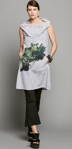 TWIST COLLAR DRESS - AVOCADO SPLAT