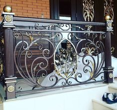Do Pergolas Give Shade Wrought Iron Stair Railing, Staircase Railings, Wrought Iron Gates, Balcony Grill Design, Steel Gate Design, Iron Balcony, Railing Design, Iron Art, Iron Doors