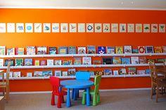 Rain gutter bookshelves and ikea chairs
