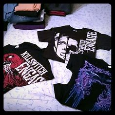 Bundle of Rock/Metal band tees *Red Killswitch Engage Men's Small *White Killswitch Engage Men's Small *Escape the Fate Men's Small (Has a rip at the seam of the right arm.) Hot Topic Tops Tees - Short Sleeve