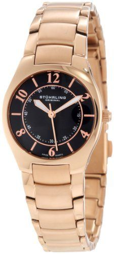 Stuhrling Original Women's 112L.12441 Classic Ascot Regalia Swiss Quartz Ultra Slim Black Dial Watch Stuhrling Original. $129.00. 16k rosegold layered tonneau shaped case with coin edge crown. Black sun ray central dial with rose tone applied arabic numerals and markers on outer dial. 16k rose gold layered polished and brushed finish triple row link bracelet with fold over push button safety. Protective krysterna crystal on front and decorated case back. Water-resistant ...