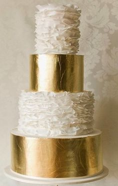 Gold and white ruffle