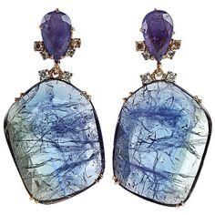 FEDERICA RETTORE Tanzanite drop earrings ($16,800) found on Polyvore