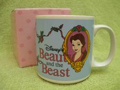 BEAUTY AND THE BEAST MUG Vintage 1991 BELLE CERAMIC CUP Pink Rose Mirror Coffee…