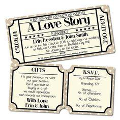 Vintage Retro Cinema Ticket Style Wedding Invitation RSVP ❤ liked on Polyvore featuring home, home decor, inspirational home decor, handmade home decor, calligraphy wedding invitations and handmade wedding invitations