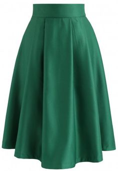 Go for Grace Glossy A-Line Skirt in Green - Skirt - BOTTOMS - Retro, Indie and Unique Fashion