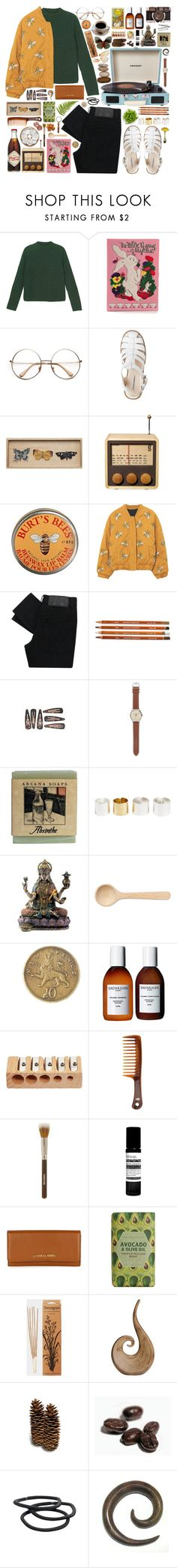"""""""Gold Link"""" by peachy-mami ❤ liked on Polyvore featuring Monki, Olympia Le-Tan, WALL, Singgih Kartono, Burt's Bees, Crosley, Cheap Monday, J.Crew, Dries Van Noten and HAY"""