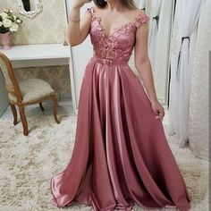 prom dresses Evening Dress Long 2019 Satin Appliques Elegant Formal Dress sold by Everbeauties Prom Dress on Storenvy Prom Dresses Long Pink, Grad Dresses, Pretty Dresses, Bridesmaid Dresses, Formal Dresses, Evening Dress Long, Evening Dresses, Party Frocks, Belle Photo