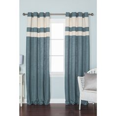Best Home Fashion Inc. Solid Faux Linen Monotone Grommet Blackout... ($63) ❤ liked on Polyvore featuring home, home decor, window treatments, curtains, texture panels, blue window treatments, blue curtains, textured curtains and grommet curtains