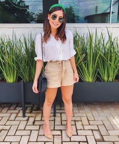 stylish summer outfits to wear now 32 ~ my.me stylish summer outfits to wear no. Stylish Summer Outfits, Spring Outfits, Casual Outfits, Cute Outfits, Elegante Shorts Outfit, Girl Fashion, Fashion Looks, Fashion Outfits, Travel Fashion