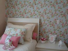 Meninas do Pano: Tecido aplicado na parede - Romântico e charmoso