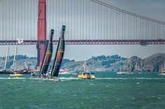 Both Oracle boats warming up for their match race
