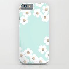 DAISY RAIN MINT iPhone & iPod Case by Monika Strigel | Society6 $35  #iphonecase #mint #daisy #gold #cute #girly #monikastrigel