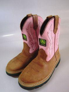 Girls Cowboy Boots sz 1-1/2M ~ John Deere ~ Pink Leather ~ EUC! #JohnDeere…