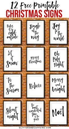12 Free Printable Christmas Signs To Decorate Your Home For The . - 12 free printable Christmas signs to decorate your home for the holidays – glitter and caffeine 12 - Christmas Wall Art, Rustic Christmas, Christmas Projects, Christmas Holidays, Christmas Words, Christmas Signs Wood, Farmhouse Christmas Ornaments Diy, Christmas Sayings And Quotes, Gifts For Christmas