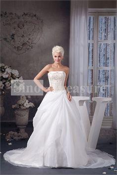 White A-Line Strapless Court Train Church Strapless Wedding Dress Wholesale Price: US$259.99