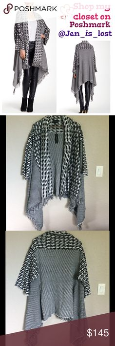"""Romeo & Juliet Couture Asymmetrical Cardigan Small - Open front - Long sleeves - Allover pattern - Fringe and asymmetrical hem - Approx. 36"""" shortest length, 47"""" longest length Fiber Content: 100% acrylic Romeo & Juliet Couture Sweaters"""