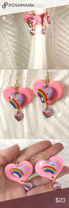 My ♥️ is full of rainbows 🌈 I'm so in love with these sweet vintage 70s rainbow charms I want to put them on everything! As I am a full on adult type person that is in charge of some things, I CAN...and I sometimes have candy for breakfast because as I said I'm like a grown up 🤣 These jumbo cotton candy pink acrylic hearts are accented with two sweet dangles of lovely lavender vintage fabulousness and finished with gold plated jump rings and 24k plated fish hooks for your own rainbow…