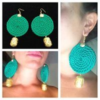 Green Rope earrings with gold pendant