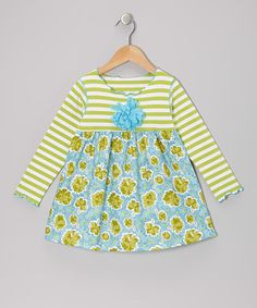 Take a look at this Aqua & Green Floral Lettuce Swing Top - Toddler & Girls by SILLY MILLY on #zulily today!