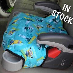 Custom made for the Graco Turbo booster seat. Cute little minions on the Aqua background to encourage the little one to stay seated. Padded and quilted for more durability.
