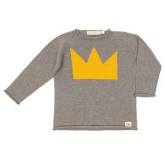 Jersey tricot gris corona niño niña fashion kids moda infantil