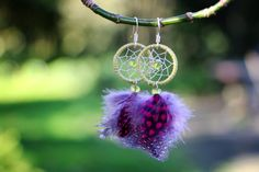 Green Magenta and Purple Dream Catcher Earrings by nZuriArtDesigns