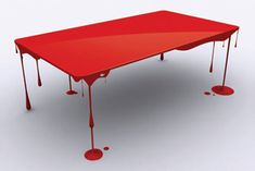 The table is a beautiful artwork which looks like some paint dripping down the table or a table soaked in blood. The table stands on legs made in shape of dripping blood which gives it a unique & at the same time creepy appeal. Funky Furniture, Unique Furniture, Art Furniture, Furniture Design, Cheap Furniture, Painted Furniture, Victorian Furniture, Inexpensive Furniture, Furniture Websites
