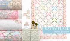 Eaton Place by Darlene Zimmerman for Robert Kaufman Fabrics Eaton Place is a sweet, floral collection featuring roses, stripes and leaves in soft pinks, blues and creams. Eaton Place, Robert Kaufman, Zimmerman, Florals, Blues, Fabrics, Stripes, Leaves, Quilts