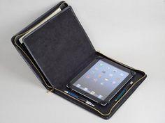iPad 4 Portfolio Case with Notepad Full Grain Black Leather Apple iPad 3 zip Around Case and for App