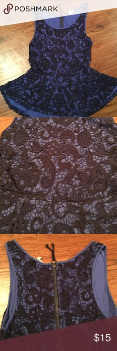 Lace peplum top EUC, adorable peplum top with lacy crochet detail. Exposed back zipper. Tags have been cut off the back. Anthropologie Tops Blouses