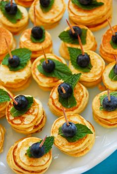 Brunch bites!  Stack up these mini-pancakes.  So pretty.