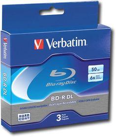 Verbatim - Blu-ray Recordable Media - BD-R DL - 6x - 50 GB - 3 Pack Jewel Case, 97237