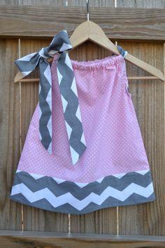 Pink & Grey Chevron Dress $26