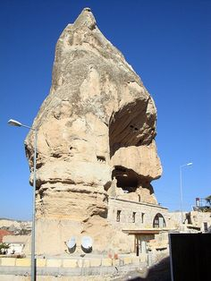 A cave house complete with satellite dishes - Cappadocia Turkey