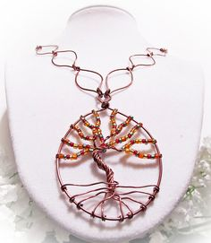 Colorful Tree of Life pendant with copper leaf by BeadNTrendy, $18.00