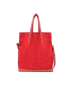 zara red suede bag