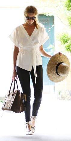 White Kimono | Black Skinnies | Striped Espadrilles ... and I have the shoes! super score :)