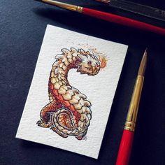 "410 Likes, 27 Comments - Emma Lazauski (@emmalazauski) on Instagram: ""A fiery drake-hound mini painting, finished on last night's stream."""