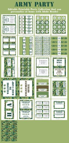 Army Party Printables, Invitations & Decorations