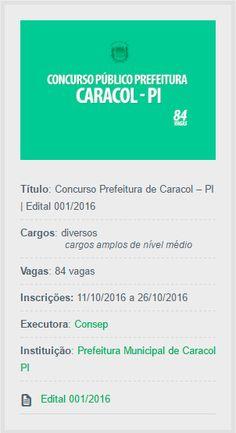 Estão abertas as inscrições do Concurso da Prefeitura de Caracol, Piauí, para provimento de cargos efetivos e formação de cadastro reserva.