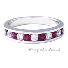 There are 6 = 0.44ct round cut rubies and 5 = 0.2ct GH/VS – SI round brilliant cut diamonds channel set in an 18k white gold half eternity ring